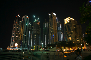 Dubai harbor by night